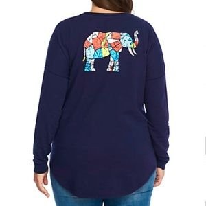 NEW Crown & Ivy Sweeper Tee Elephant Graphic Print
